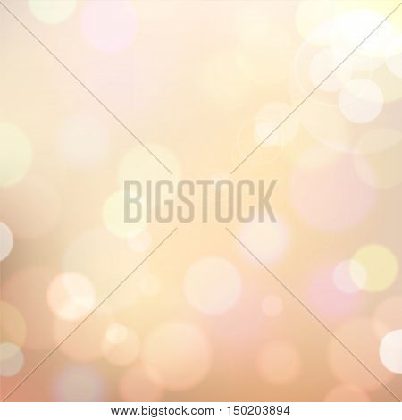 Festive colorful background of beige colors with bokeh defocused lights. Vector eps10.