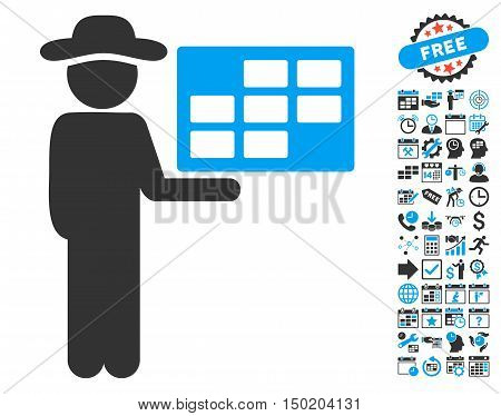 Agent Schedule icon with bonus calendar and time management pictograph collection. Vector illustration style is flat iconic bicolor symbols, blue and gray colors, white background.