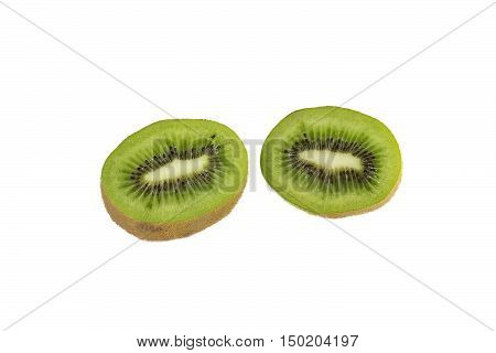 two halves of kiwi on a white background isolated