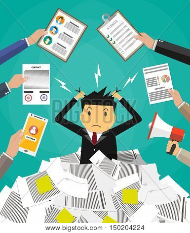 Stressed cartoon businessman in pile of office papers and documents tearing his hair out. Stress at work. Overworked. Vector illustration in flat design on green background.