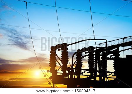 Substation in the power production equipment and pylons