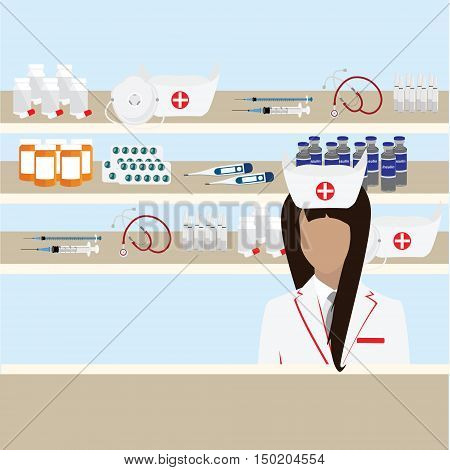 Modern flat vector illustration of female pharmacist at the counter in a pharmacy opposite the shelves with medicines. Health care conceptual background