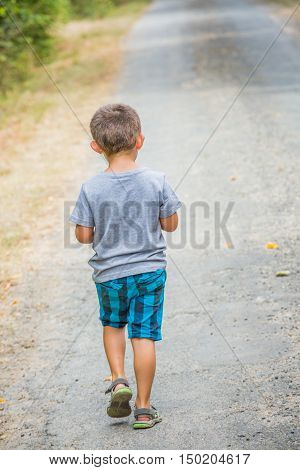 Young child walking back alone on a country road