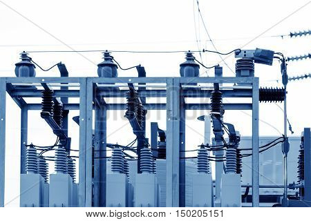 Substation in the transmission equipment, racks, and production lines