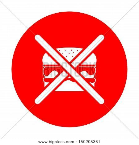 No Burger Sign. White Icon On Red Circle.