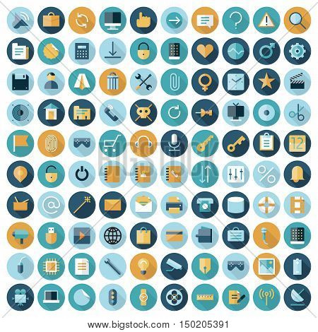 Flat design icons for user interface. Vector eps10 with transparency.