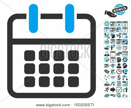 Calendar Poster pictograph with bonus calendar and time management pictograph collection. Vector illustration style is flat iconic bicolor symbols, blue and gray colors, white background.