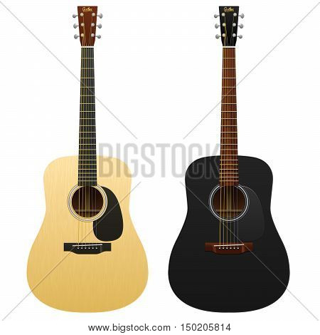 Realistic acoustic guitars isolated two western guitars classical musical instruments acoustic guitar, classic guitar
