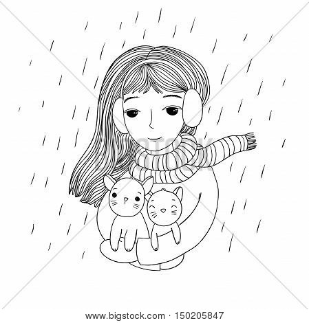 The young beautiful girl with two cute little kittens. The rescued animals. Autumn theme. Hand drawing isolated objects on white background. Vector illustration.