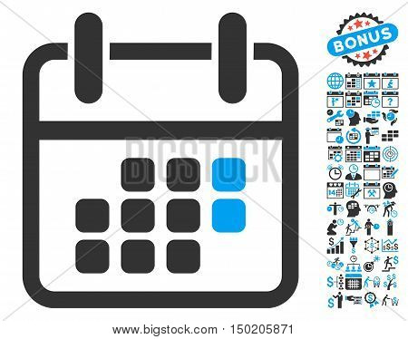 Calendar Weekend pictograph with bonus calendar and time management pictograph collection. Vector illustration style is flat iconic bicolor symbols, blue and gray colors, white background.