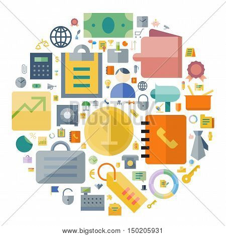 Icons for business and finance arranged in circle. Vector illustration.