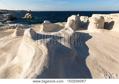 Mineral formations on the coast of Milos island in the Aegean sea, Greece.