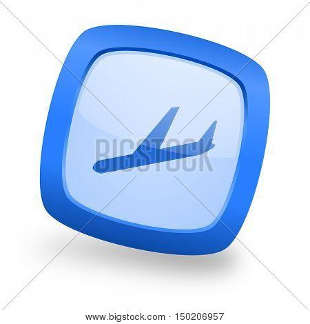 arrivals blue glossy web design icon