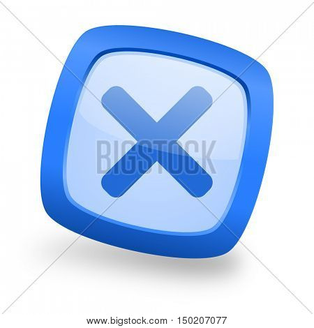 cancel blue glossy web design icon