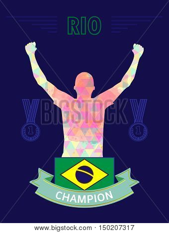 Digital vector, abstract rio winner sportman champion with hands in the air and flag of brazil, flat style