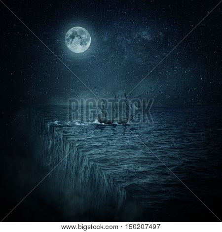 Vintage old ship sailing lost in the ocean at night. Adventure and journey concept. Parallel universe multiverse theory