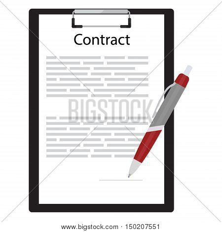 Business contract concept with contract on black clipboard and ball pen vector illustration. Contract icon. Agreement