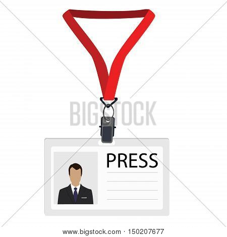 Vector illustration flat design name tag badge template. White plastic lanyard badge with man photo for press