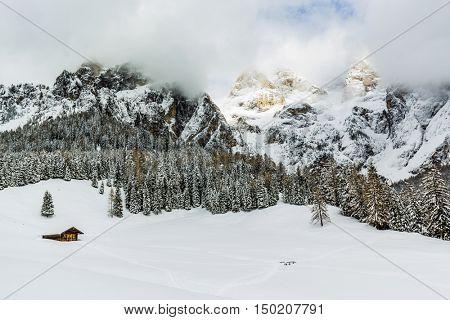 Italian Dolomites in winter morning light, Pale di San Martino, San Martino di Castrozza.