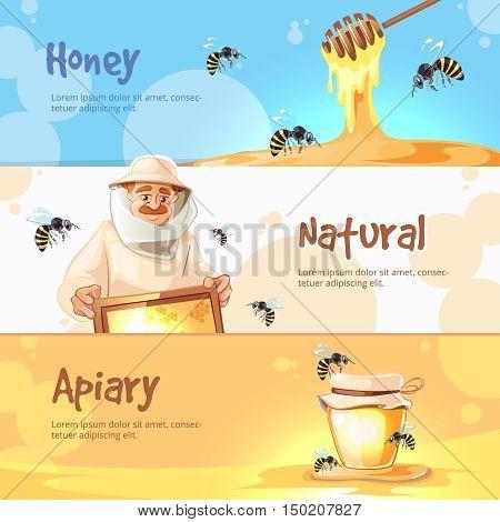 vector horisontal banners set of Apiary symbols. Bee, honey, bee house, honeycomb. Emblem of Man beekeeer in costume. beehive, wax.