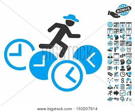Gentleman Running Over Clocks pictograph with bonus calendar and time management icon set. Vector illustration style is flat iconic bicolor symbols, blue and gray colors, white background.