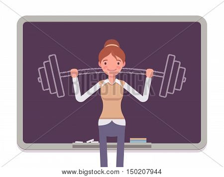 Woman against the blackboard with drawn barbell. Cartoon vector flat-style concept illustration