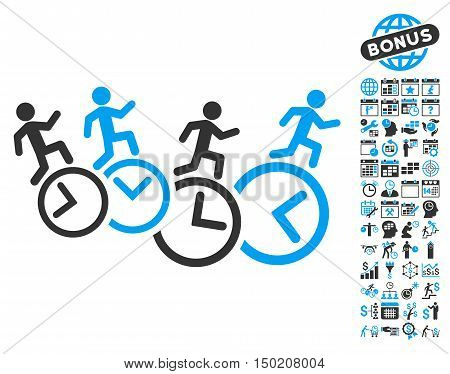 Men Running Over Clocks icon with bonus calendar and time management images. Vector illustration style is flat iconic bicolor symbols, blue and gray colors, white background.