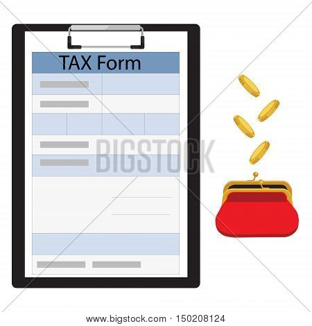 Vector illustration black clipboard with income tax form and golden coins falling in red retro purse. Dollars dropping in open purse. Saving money concept. Federal income tax form. Tax return