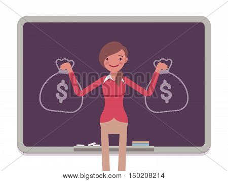 Woman against the blackboard with drawn sacks of money. Cartoon vector flat-style concept illustration