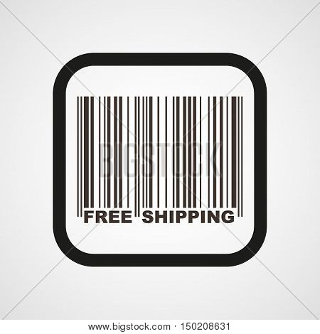 Barcode and Free Shipping Icon Flat Simple Vector illustration