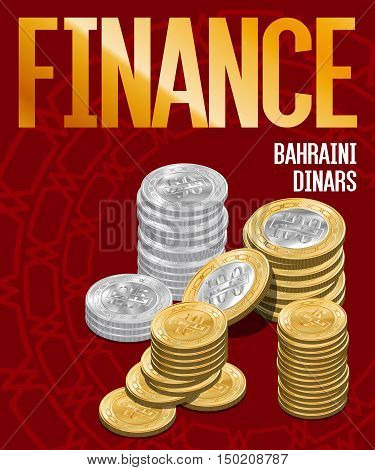 Bahraini Dinars Coins Stacks Cover Poster Design