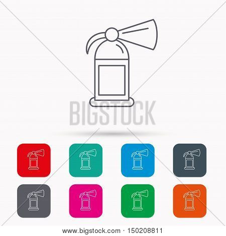 Fire extinguisher icon. Flame protection sign. Linear icons in squares on white background. Flat web symbols. Vector