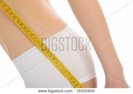 Part Of Beautiful Fit Slim Woman Body In White Underwear Measuring Hips. Anti-cellulite. Isolated
