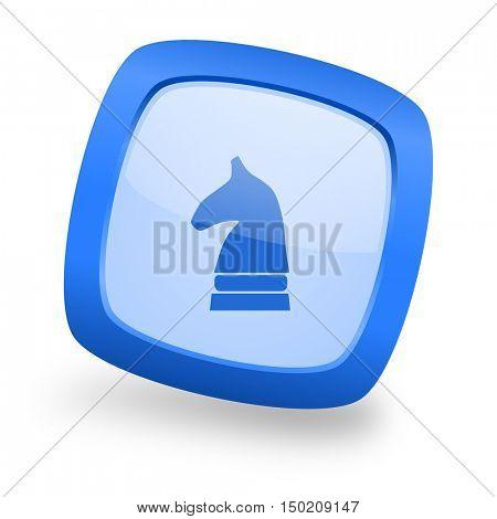 chess horse blue glossy web design icon
