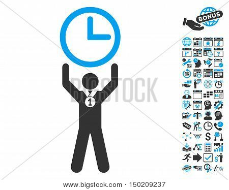 Time Champion icon with bonus calendar and time management design elements. Vector illustration style is flat iconic bicolor symbols, blue and gray colors, white background.