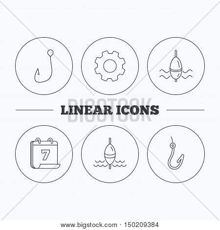 Fishing hook and float icons. Waves linear sign. Flat cogwheel and calendar symbols. Linear icons in circle buttons. Vector