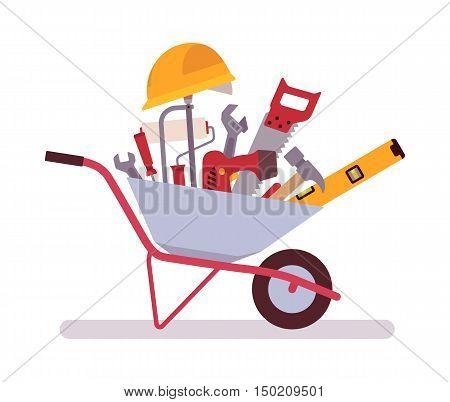 Wheelbarrow full of tools. Cartoon vector flat-style concept illustration