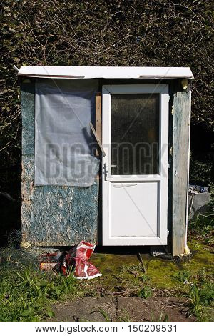 An old homemade shed in an allotment