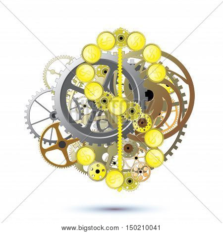 dollar sign as a mechanism of watch gears on a white background