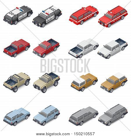 Isometric SUVs pickup trucks and service vehicles of police or fire brigade provided front and rear which can be used in different elements of infographics vector graphic illustration design