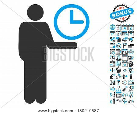 Waiter icon with bonus calendar and time management design elements. Vector illustration style is flat iconic bicolor symbols, blue and gray colors, white background.