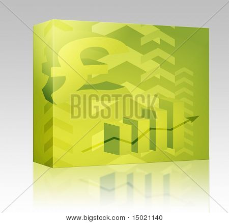 Software package box Abstract financial success illustration with pound currency
