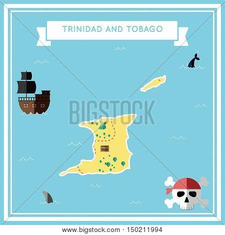 Flat Treasure Map Of Trinidad And Tobago. Colorful Cartoon With Icons Of Ship, Jolly Roger, Treasure
