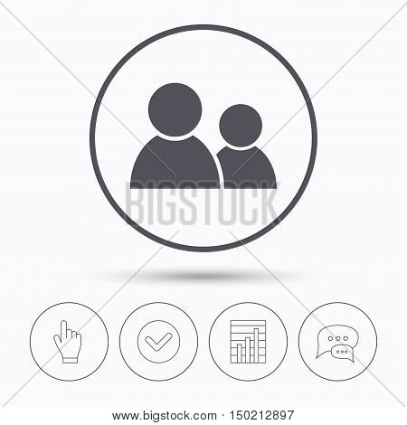 Friends icon. Group of people sign. Communication symbol. Chat speech bubbles. Check tick, report chart and hand click. Linear icons. Vector