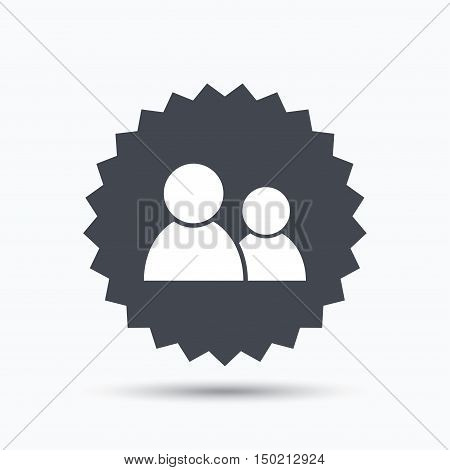 Friends icon. Group of people sign. Communication symbol. Gray star button with flat web icon. Vector