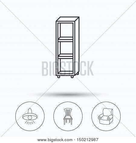 Chair, ceiling lamp and armchair icons. Shelving linear sign. Linear icons in circle buttons. Flat web symbols. Vector