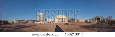 Gomel Belarus - March 27 2016: Lenin Square to the theater in the morning Dromatic theatre. Panorama