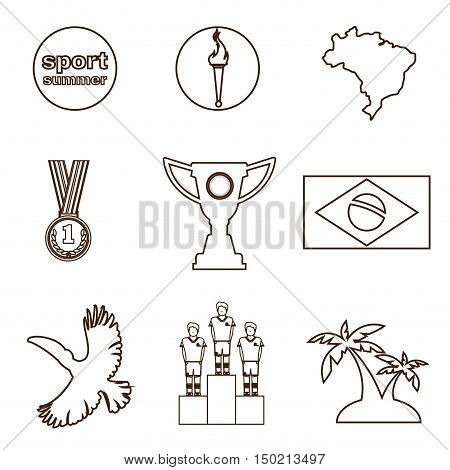 Digital vector brasil sport icons set, flag, torch, cup, medal, flat style