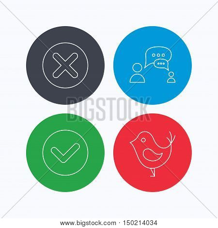 Delete, check and chat speech bubble icons. Dialog linear sign. Linear icons on colored buttons. Flat web symbols. Vector