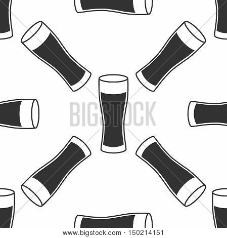 Glass Of Beer Icon Seamless Pattern On White Background. Vector Illustration